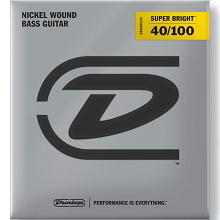 Dunlop Super Bright Nickel Plated Steel Electric Bass Strings Long Scale Set - 4-String 40-100 Light DBSBN40100