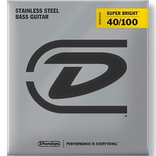 Dunlop Super Bright Stainless Steel Electric Bass Strings Long Scale Set - 4-String 40-100 Light DBSBS40100
