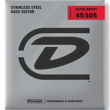 Dunlop Super Bright Stainless Steel Electric Bass Strings Long Scale Set - 4-String 45-105 DBSBS45105