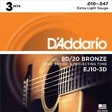 D'Addario 80/20 Bronze Acoustic Guitar String Sets 10-47 3-Pack Extra-Light EJ10-3D