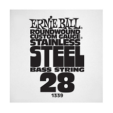 Ernie Ball Stainless Steel Round Wound Electric Bass Single String - Long Scale .028w