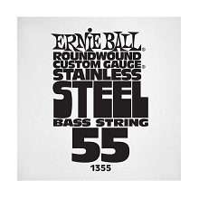 Ernie Ball Stainless Steel Round Wound Electric Bass Single String - Long Scale .055