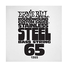Ernie Ball Stainless Steel Round Wound Electric Bass Single String - Long Scale .065