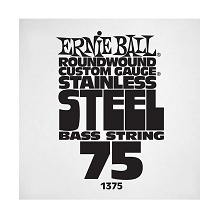 Ernie Ball Stainless Steel Round Wound Electric Bass Single String - Long Scale .075