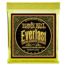 Ernie Ball Everlast Coated 80/20 Bronze Acoustic Guitar String Set - 12-54 Medium-Light 2556