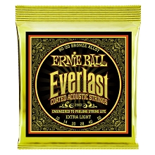 Ernie Ball Everlast Coated 80/20 Bronze Acoustic Guitar String Set - 10-50 Light 2560