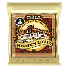 Ernie Ball Earthwood 80/20 Bronze Acoustic Guitar String Sets - 12-54 Medium-Light 3003 3-Pack