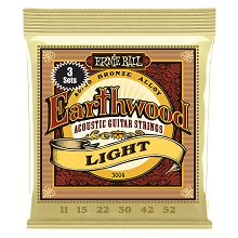 Ernie Ball Earthwood 80/20 Bronze Acoustic Guitar String Sets - 11-52 Light 3004 3-Pack
