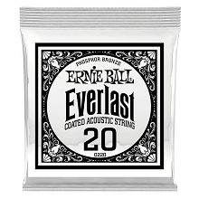 Ernie Ball Everlast Coated Phosphor Bronze Acoustic Guitar Single String .020w