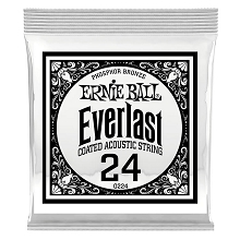 Ernie Ball Everlast Coated Phosphor Bronze Acoustic Guitar Single String .024w