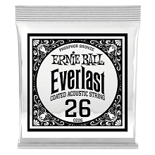 Ernie Ball Everlast Coated Phosphor Bronze Acoustic Guitar Single String .026w