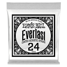 Ernie Ball Everlast Coated 80/20 Bronze Acoustic Guitar Single String .024w