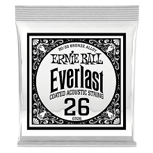 Ernie Ball Everlast Coated 80/20 Bronze Acoustic Guitar Single String .026w