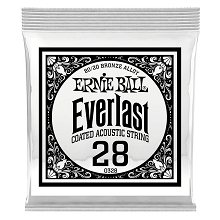 Ernie Ball Everlast Coated 80/20 Bronze Acoustic Guitar Single String .028w