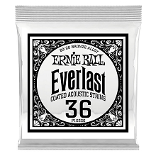 Ernie Ball Everlast Coated 80/20 Bronze Acoustic Guitar Single String .036w