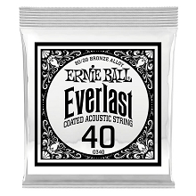 Ernie Ball Everlast Coated 80/20 Bronze Acoustic Guitar Single String .040w