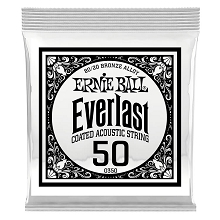 Ernie Ball Everlast Coated 80/20 Bronze Acoustic Guitar Single String .050w