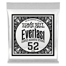 Ernie Ball Everlast Coated 80/20 Bronze Acoustic Guitar Single String .052w