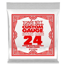Ernie Ball Nickel Wound Single Electric Guitar String Extra Long .024w