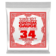 Ernie Ball Nickel Wound Single Electric Guitar String Extra Long .034w