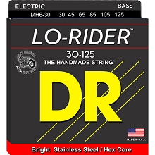 DR Lo-Rider Stainless Steel Electric Bass Strings Long Scale Set - 6-String 30-125 Medium MH6-30