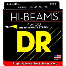 DR Hi-Beam Stainless Steel Electric Bass Strings Long Scale Set - 4-String 45-100 Medium-Light MLR-45