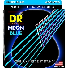 DR NEON Blue Coated Phosphor Bronze Acoustic Guitar String Set - 10-48 Extra Light NBA-10
