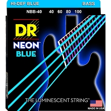 DR NEON Blue Coated Electric Bass Strings Long Scale Set - 4-String 40-100 NBB-40