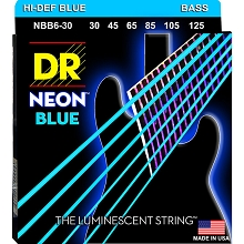 DR NEON Blue Coated Electric Bass Strings Long Scale Set - 6-String 30-125 NBB6-30