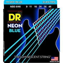 DR Neon Blue K3 Coated Electric Guitar String Set - 09-46 Light-Heavy NBE-9/46