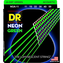 DR NEON Green Coated Phosphor Bronze Acoustic Guitar String Set - 11-50 Custom Light NGA-11