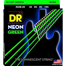 DR NEON Green Coated Electric Bass Strings Long Scale Set - 4-String 45-105 NGB-45