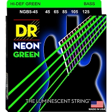 DR NEON Green Coated Electric Bass Strings Long Scale Set - 5-String 45-125 NGB5-45