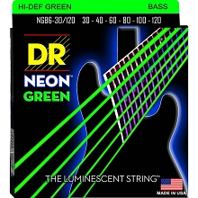 DR NEON Green Coated Electric Bass Strings Long Scale Set - 6-String 30-120 NGB6-30/120