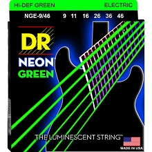 DR Neon Green K3 Coated Electric Guitar String Set - 09-46 Light-Heavy NGE-9/46