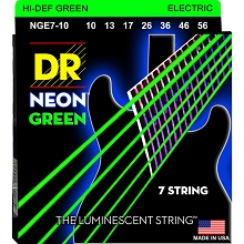 DR Neon Green K3 Coated Electric Guitar String Set - 10-56 7-String Medium NGE7-10