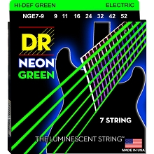 DR Neon Green K3 Coated Electric Guitar String Set - 09-52 7-String Light NGE7-9