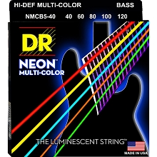 DR NEON Multi-Color Coated Electric Bass Strings Long Scale Set - 5-String 40-120 NMCB5-40 Rocksmith Colors