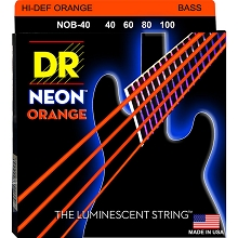 DR NEON Orange Coated Electric Bass Strings Long Scale Set - 4-String 40-100 NOB-40