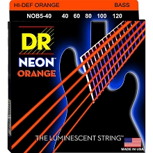 DR NEON Orange Coated Electric Bass Strings Long Scale Set - 5-String 40-120 NOB5-40