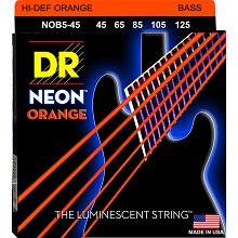 DR NEON Orange Coated Electric Bass Strings Long Scale Set - 5-String 45-125 NOB5-45
