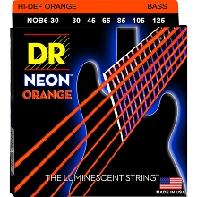 DR NEON Orange Coated Electric Bass Strings Long Scale Set - 6-String 30-125 NOB6-30