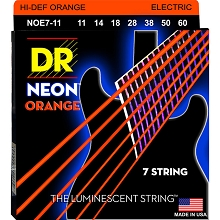 DR Neon Orange K3 Coated Electric Guitar String Set - 11-60 7-String Heavy NOE7-11