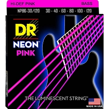 DR NEON Pink Coated Electric Bass Strings Long Scale Set - 6-String 30-120 NPB6-30/120
