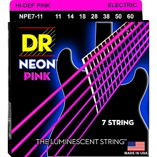 DR Neon Pink K3 Coated Electric Guitar String Set - 11-60 7-String Heavy NPE7-11