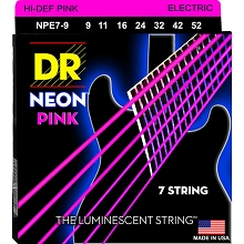 DR Neon Pink K3 Coated Electric Guitar String Set - 09-52 7-String Light NPE7-9
