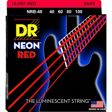 DR NEON Red Coated Electric Bass Strings Long Scale Set - 4-String 40-100 NRB-40