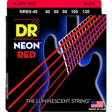 DR NEON Red Coated Electric Bass Strings Long Scale Set - 5-String 40-120 NRB5-40
