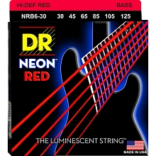 DR NEON Red Coated Electric Bass Strings Long Scale Set - 6-String 30-125 NRB6-30