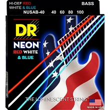 DR NEON USA Flag Coated Electric Bass Strings Long Scale Set - 4-String 40-100 NUSAB-40 Red White Blue
